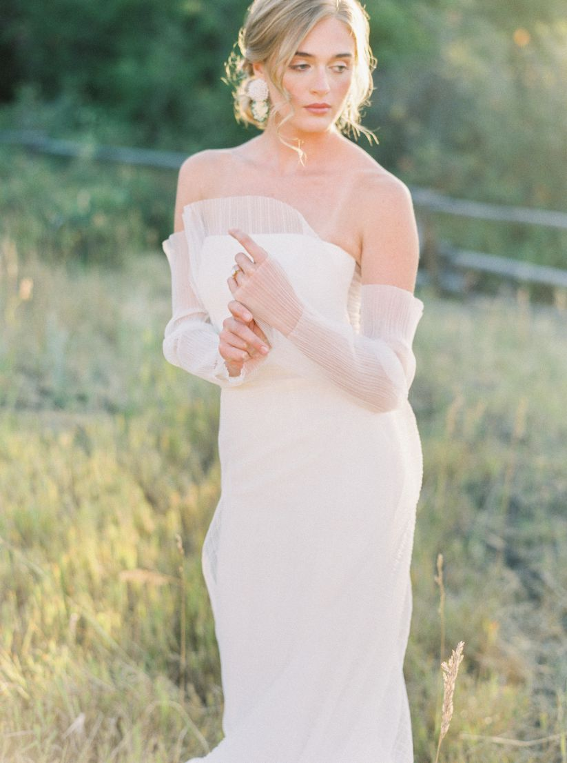 bride with gorgeous makeup and curled updo