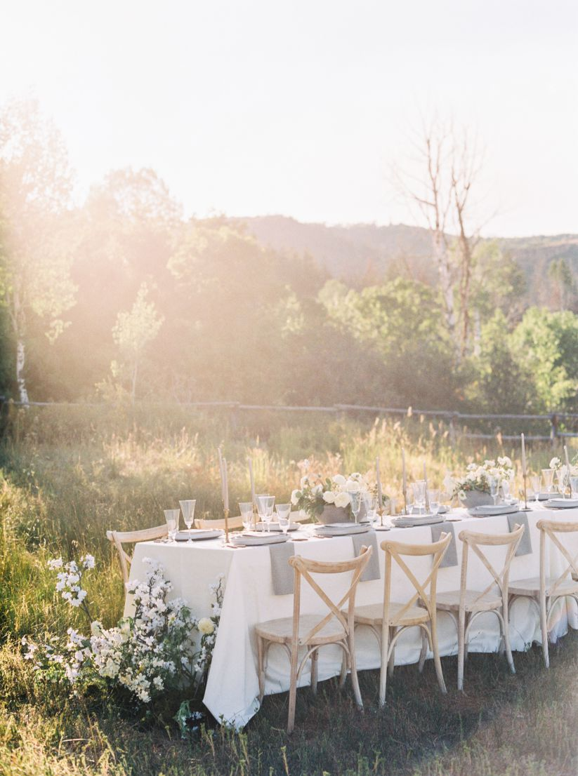 wedding table in wooded setting
