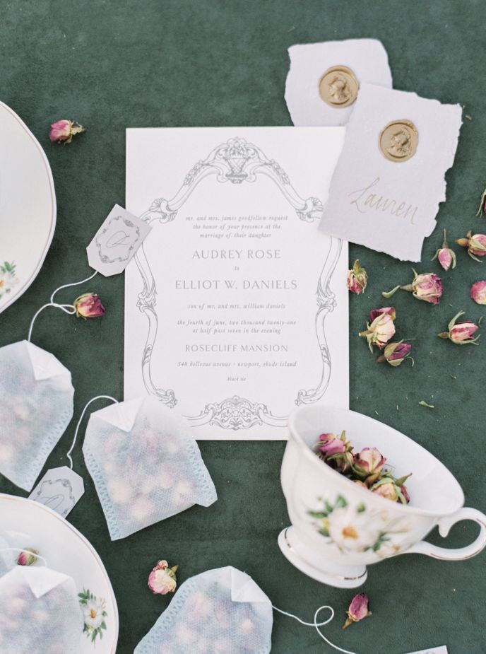 wedding invite, souvenirs, and rsvp cards