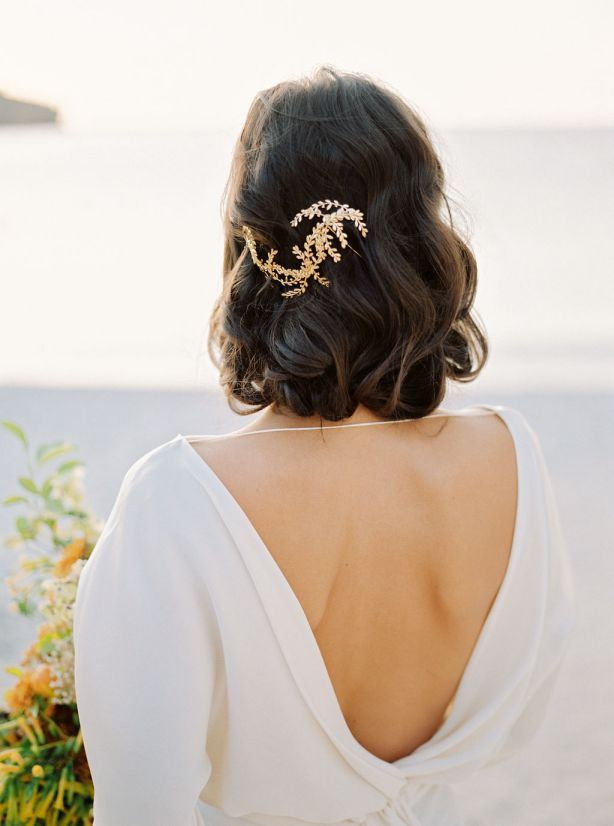 simple curls and hair accessories